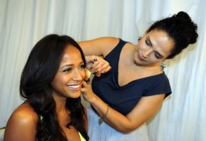 Dania Ramirez getting glamorous for her COVERGIRL photo shoot with makeup artist, Rebecca Restrepo.