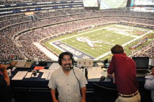 Victor Villalba, broadcasting for the Cowboys-Titans game in October 2010