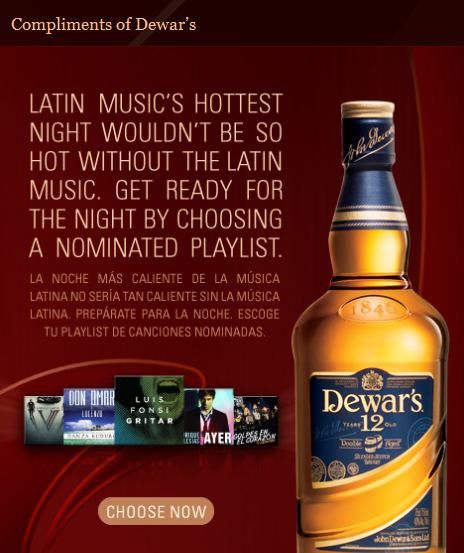 New Facebook App by Dewar's Blended Scotch Whisky & Universal Music Latin Entertainment Help Make Nov 10th Latin Music's Hottest Night of the Year