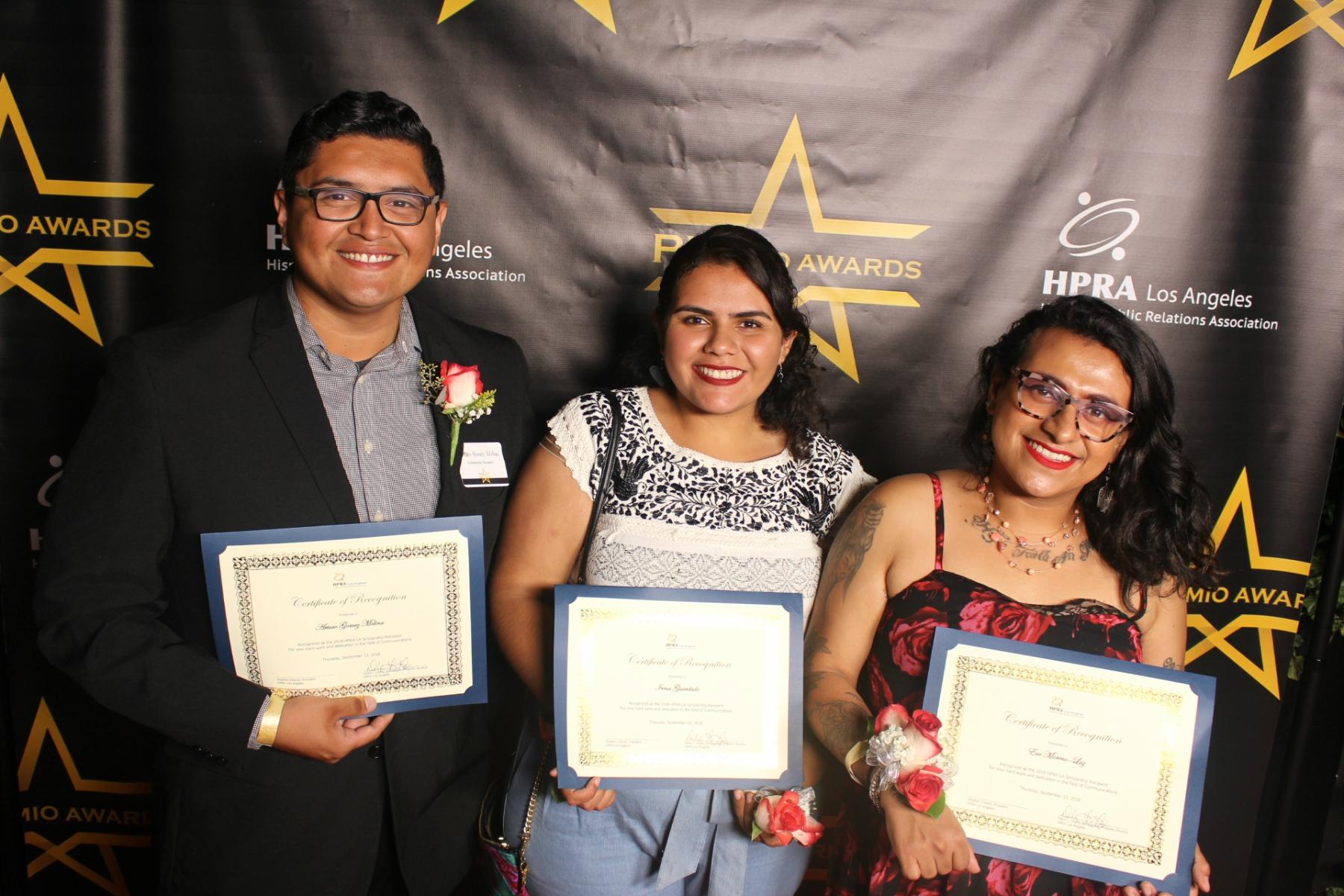 HPRA-LA 2018 Scholarship Winners (left to right): Arturo Gomez Molina; Irma Guardado; Eve Moreno-Luz.